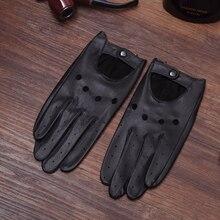 Black Goatskin Leather Driving Gloves