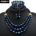 Collar pendiente de la pulsera set conjunto de joyas de cristal mujeres de la manera del grano declaración placa de oro del collar de la joyería 6140