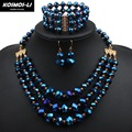 necklace bracelet earring set crystal jewelry set fashion women bead statement gold plate necklace jewelry set 6140