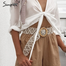 Simplee Bohemian women wide belt Crochet woven cummerbunds f