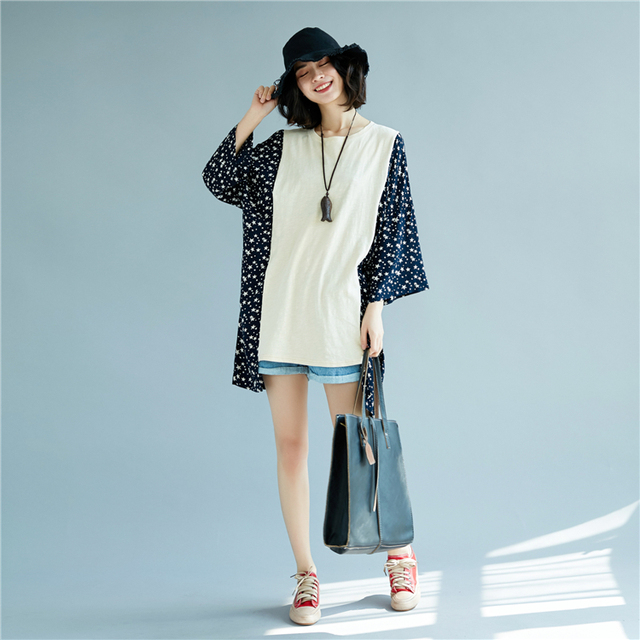 Lady's Casual Plus Size Batwing Sleeve Star Patchwork Cotton T shirt 2018 Spring Lagenlook Loose Shirts Fashion Baggy Tops Tees 1