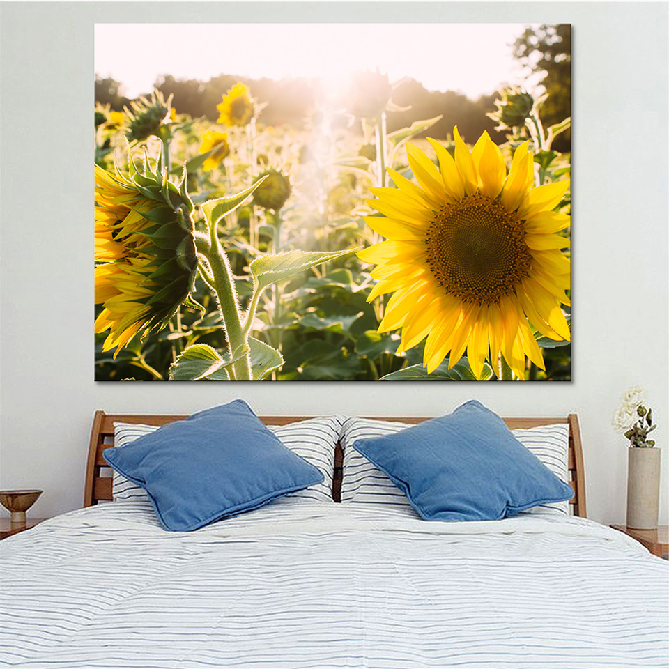 Home Decor Modular Wall Art Pictures Frame 1 Piece Sunflower Field ...