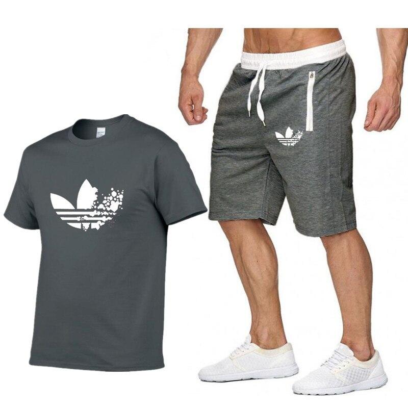 Zwei Stück Set Männer Kurzarm T Hemd Cropped Top + Shorts Männer Der Trainingsanzüge 2019 Neue Kausal Sportswear Tops Kurze Hose Perfekte Verarbeitung