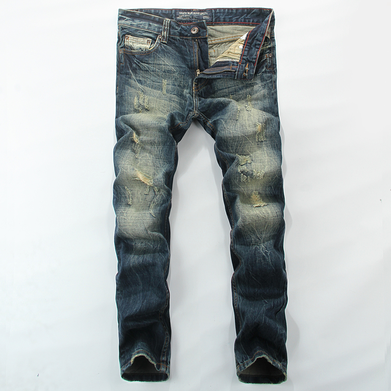 Mid Stripe Punk Men`s Blue Jeans Ripped Slim Fit Denim Pants Male High Quality Vintage Brand Clothing Moto Jeans Men RL608 classic mid stripe men s buttons jeans ripped slim fit denim pants male high quality vintage brand clothing moto jeans men rl617