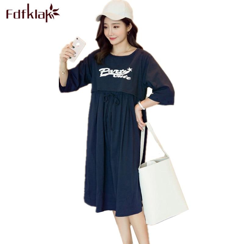 Fdfklak Spring Summer Pregnancy Clothes Maternity Nightgowns Pregnant Women Dress Nursing Nightgown Nightwear Night Shirt XXL