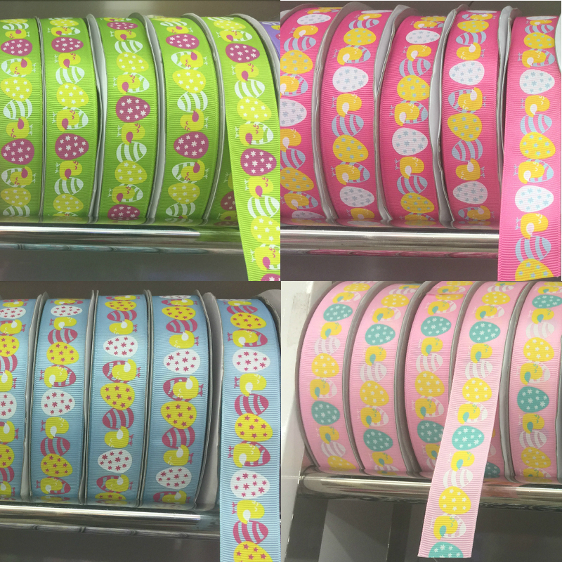 ZERZEEMOOY 25mm 1 50y/roll Easter eggs Grosgrain ribbon handmade DIY head wear ribbon bow garment accessories paper spool