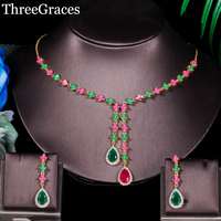 ThreeGraces Natural Red Cubic Zirconia Crystal Pave Long Dangle Necklace And Earrings Gold Color Jewelry Set For Women JS146