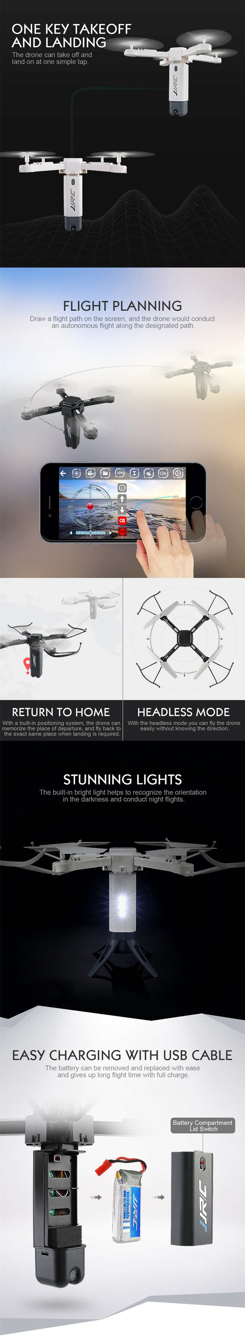 JJRC H51 Rocket-like Fold WiFi Selfie FPV 720P Camera Altitude Hold RC Quadcopter Helicopter Automatically Return Headless Mode