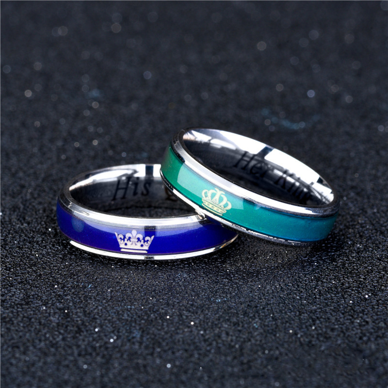 2019 Classic Lovers 39 Mood Ring for Female Male Her King His Queen Couple Rings Color Change Circlet 1PC Dropshipping SP062 in Rings from Jewelry amp Accessories