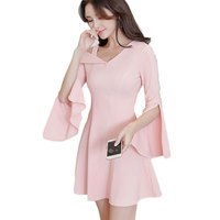 Spring New Design Women Pink Dress Irregular Knitting Dress Slim Knitwear Korean Fashion Lady Outfit Cute Girl Clothes S XL