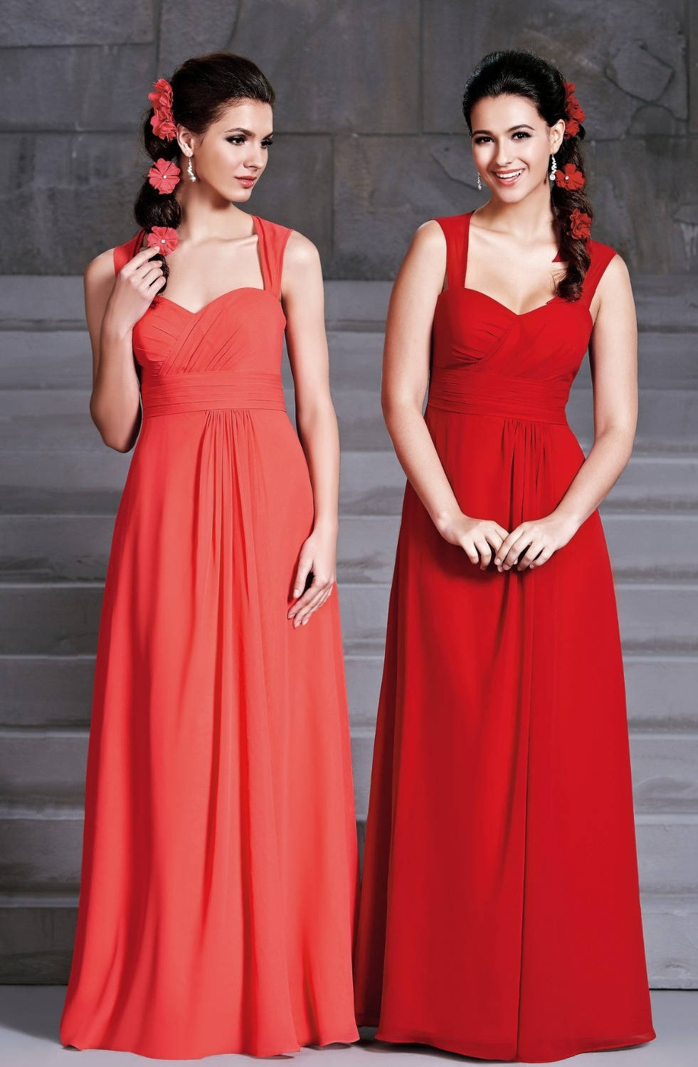 Compare prices on bridesmaid dresses orange long online shopping 2017 cheap modest coral orange red chiffon patterns for bridesmaids dresses open back long maid of ombrellifo Image collections