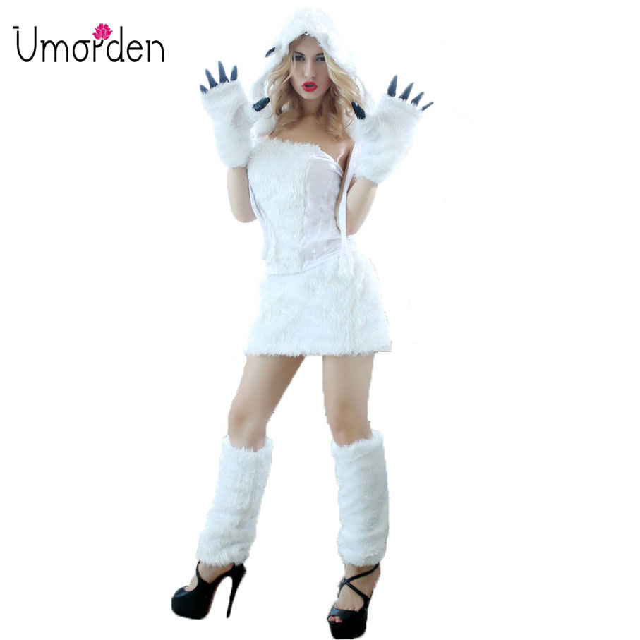 Umorden Deluxe Sexy Animal White Furry Polar Bear Costume Women Adult Halloween Fancy Cosplay Costumes 5-Piece Set