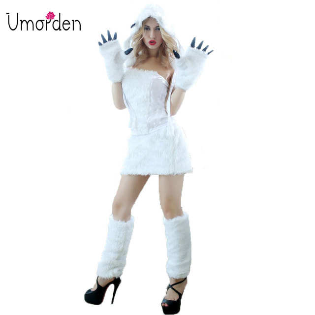 Umorden Deluxe Sexy Animal White Furry Polar Bear Costume Women Adult  Halloween Fancy Cosplay Costumes 5-Piece Set 88b1e42d1ce7
