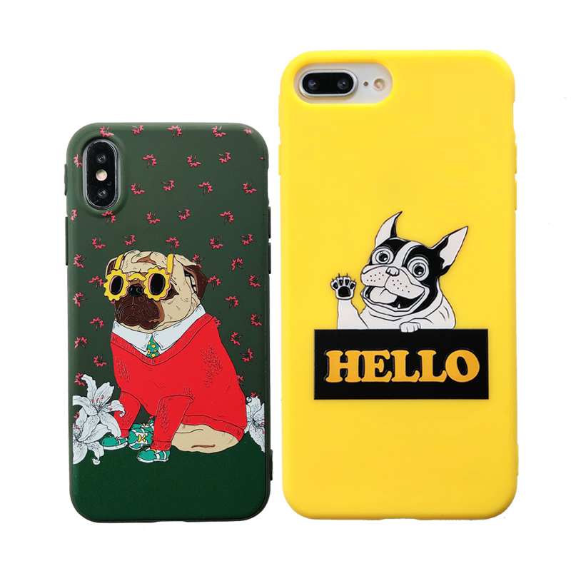 Cute Pug Dog Phone Case For iphone 7 Case For iphone X 6 S