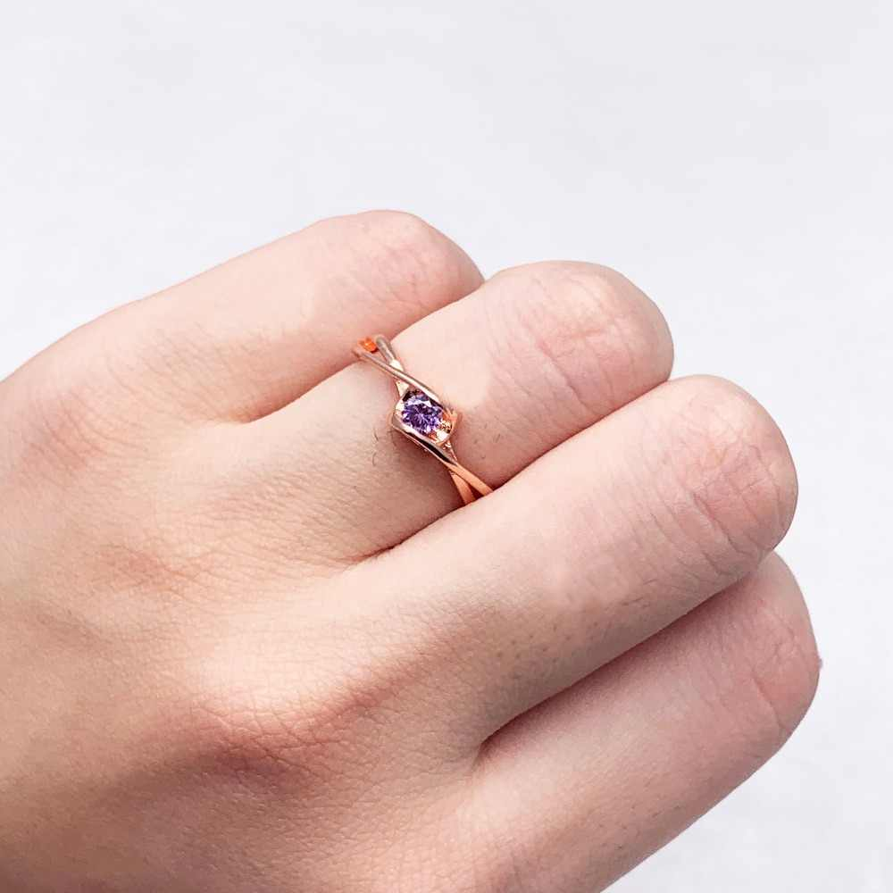0feee92b2e ... gold Rings for woman AAA Purple Zircon Glamour Lady Jewelry Wholesale  Christmas presents Couple ring wedding ...