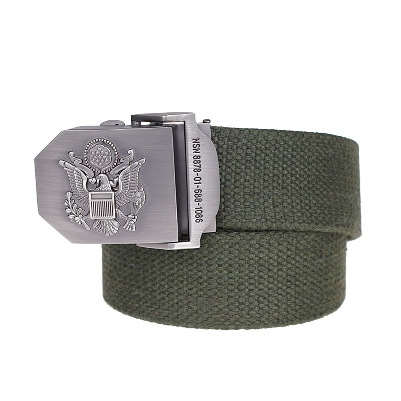 Seabigtoo Badge logo Canvas Belts for men women Woven Casual Tactical Army belts Automatic Buckle Belts male female strap sash