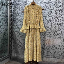 Elegant Long Dress 2019 Autumn Fashion Women Ruffled Collar Little Flower Print Flare Sleeve Ankle Length Long Maxi Dress Yellow flower embroidered long sleeve ruffled top