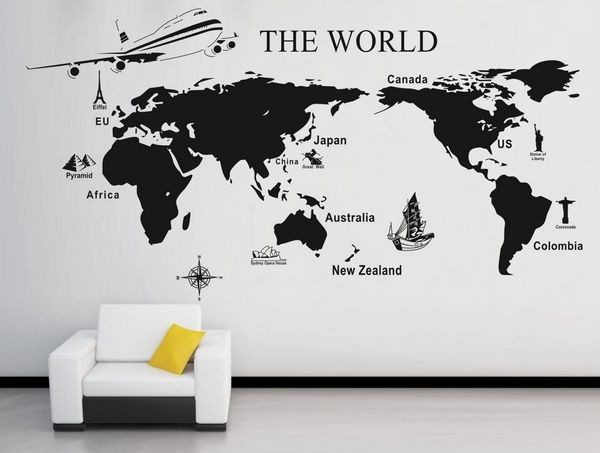 free shipping 0909 world map mural modern wall sticker