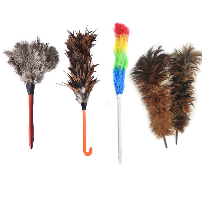 Anti-static Ostrich Feather Fur Wooden Handle Brush Duster Dust Cleaning Tool Household Dust Cleaning Plumeros Para El Polvo Car(China)