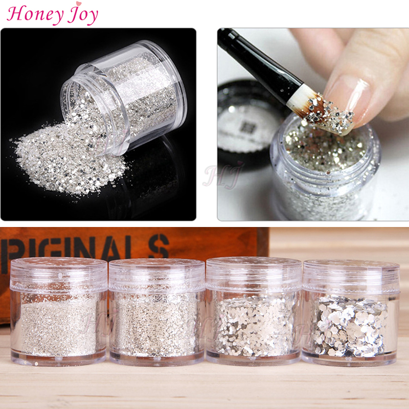 FINE BLINK GLITTER Sequins Praf de argint de culoare gri Decorare Pulbere / Paillette Hexagonal Nail Art Gel UV Acrylic Acces DIY