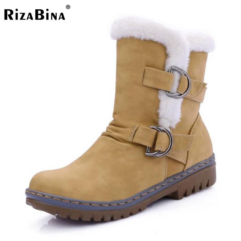 RizaBina Women Round Toe Ankle Boots Woman Warm Fur Winter Snow Boots New Fashion Buckle Style Footwear Low Heel Shoes Size34-43 winter women snow boots fashion footwear 2017 solid color female ankle boots for women shoes warm comfortable boots