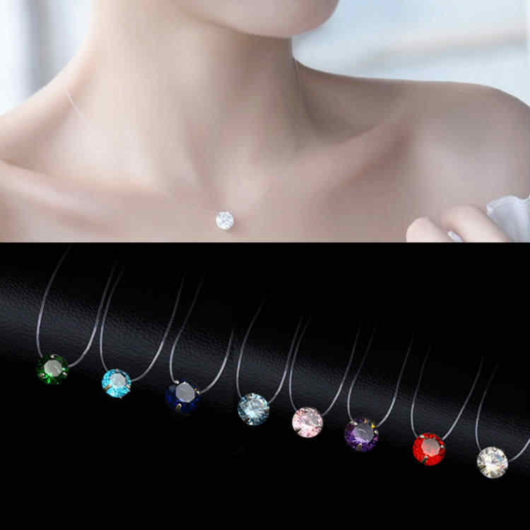 2019 Female New Heart Star Necklace Meteorite Pendant Transparent Fishing Line Invisible Women Zircon Pendants Necklace Jewelry
