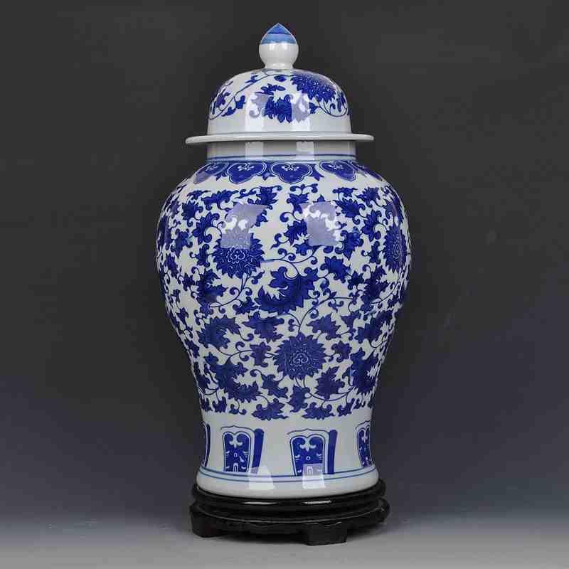 jingdezhen ceramic ginger jars antique porcelain temple jars white and blue porcelain jar - Ginger Jars