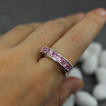 Fleure esme bezel setting rhodium plated ring pink cubic zirconia r3602 size #6 7 8 9 fashion romantic style women jewelry gift