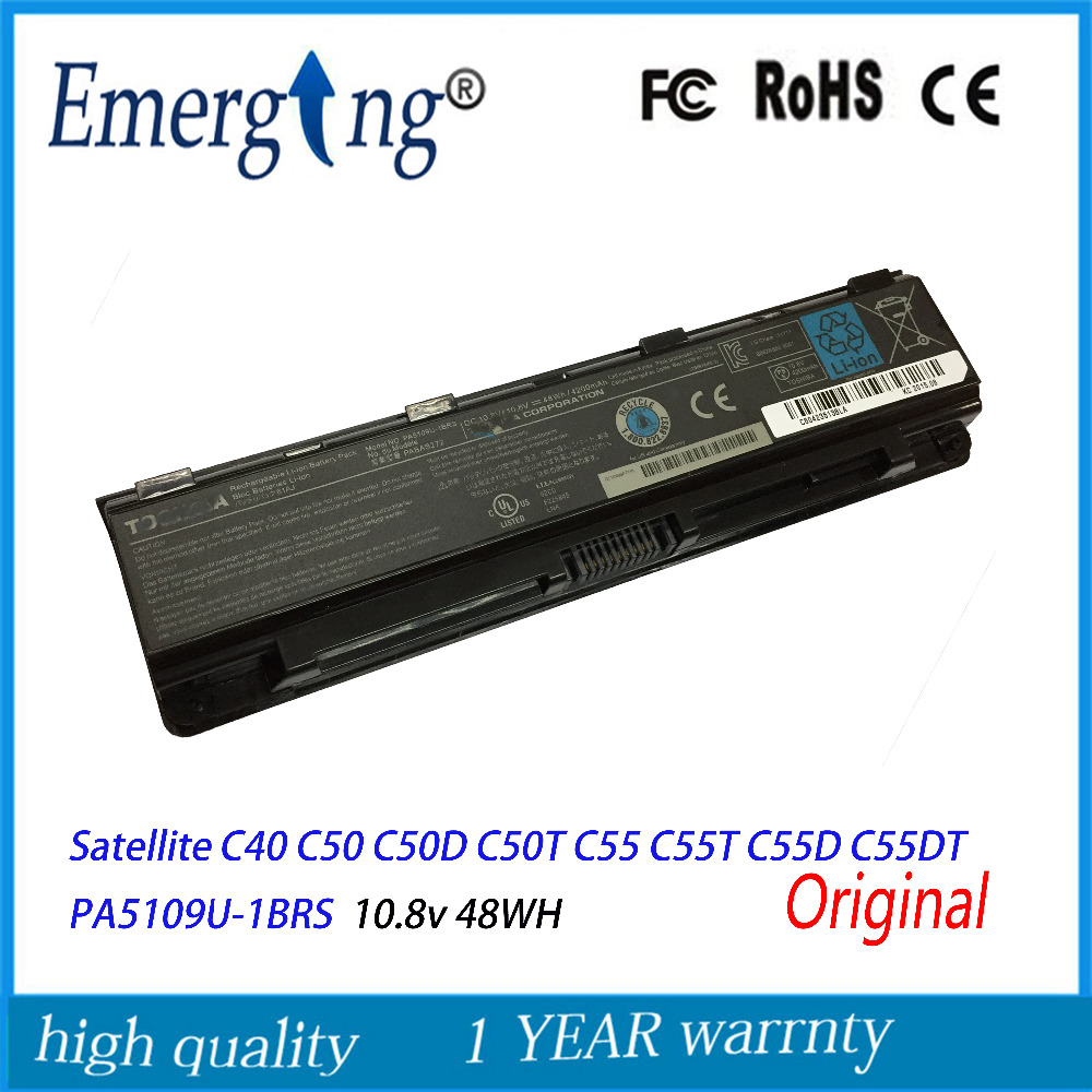 10.8V 48Wh New Original Laptop Battery for Toshiba Satellite Satellite C40 C50 C50D C50T C55 C55T C55D C55DT PA5109U-1BRS original battery for new ux310ua ux310uq b31n1535 48wh battery