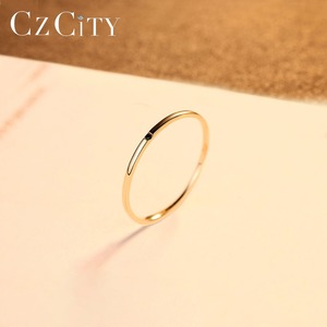 Image 4 - CZCITY 100% 14K Yellow Gold Petite Black Cubic Zircon Wedding Rings for Women Simple Thin Circle Bands Ring Fine Jewelry Bijoux
