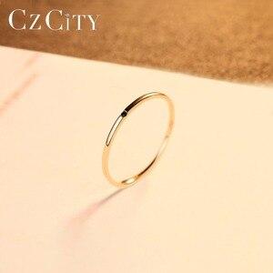 Image 4 - Czcity 100% 14 18kイエローゴールド小柄黒立方ジルコンの結婚指輪シンプルな薄型の円バンドリング罰金ジュエリービジュー