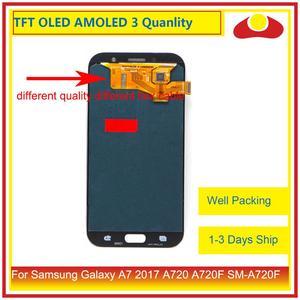 Image 2 - الأصلي لسامسونج غالاكسي A7 2017 A720 A720F SM A720F شاشة LCD مع شاشة تعمل باللمس محول الأرقام لوحة رصد الجمعية كاملة