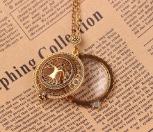 Fashion vintage antique gold link chain necklaces for women plant tree long necklaces with magnifying glass pendant jewelry