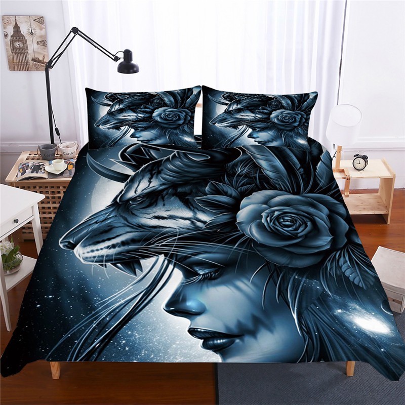 Image 2 - Bonenjoy Sugar Skull Bedding Set Queen Size Flower Skull Bed Linen Double Duvet Cover with Pillowcase King Size Skull Bedding-in Bedding Sets from Home & Garden