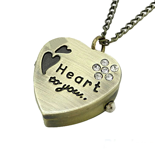 Quality Sweet Heart Vintage Retro Chain Pocket Watch Crystal Pendant Necklace Lady Girl Gift 6EPY otoky montre pocket watch women vintage retro quartz watch men fashion chain necklace pendant fob watches reloj 20 gift 1pc
