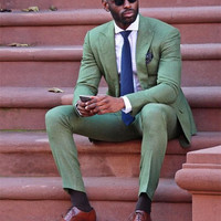 2017 Cool Fashion Green Men Suit Attractive Party Prom Tuxedo Men's Casual Style Daily Work Wear terno Suits (Jacket+Pants+Tie)