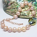 New 9-10mm natural freshwater orange pearl bracelet 9-10mm round beads crystal lovely birthday gift jewelry 7.5inch B1409