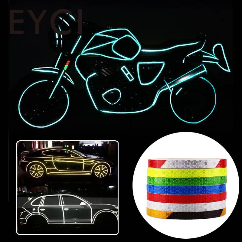 EYCI DIY Bicycle Reflective Sticker 8m Safety Warning Tape Glow Night Self Adhesive Reflective Sticker Tape