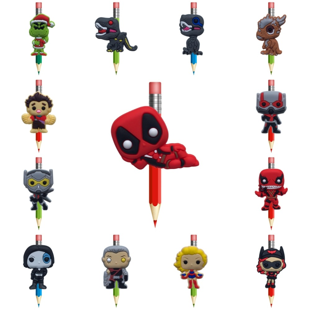 1Pcs Venom Pens Topper Straw Charm Deadpool Cartoon Pencil Holder Unicorn School Supplies Pencil Grip Kids Gifts