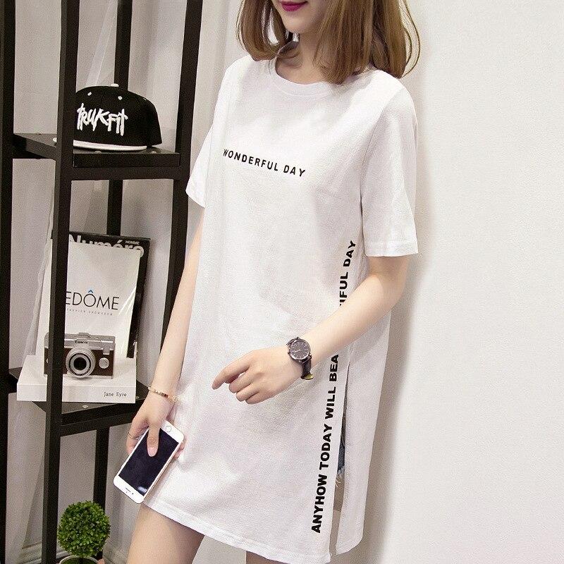 Women Long T-shirt Wonderful Day Printed T Shirts Summer Short Sleeve Tees Female Casual Tops Streetwear