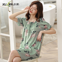 Women night dress summer nightgown cotton sleep wear home short sleeve sleepwear nightwear plus size sexy cloth