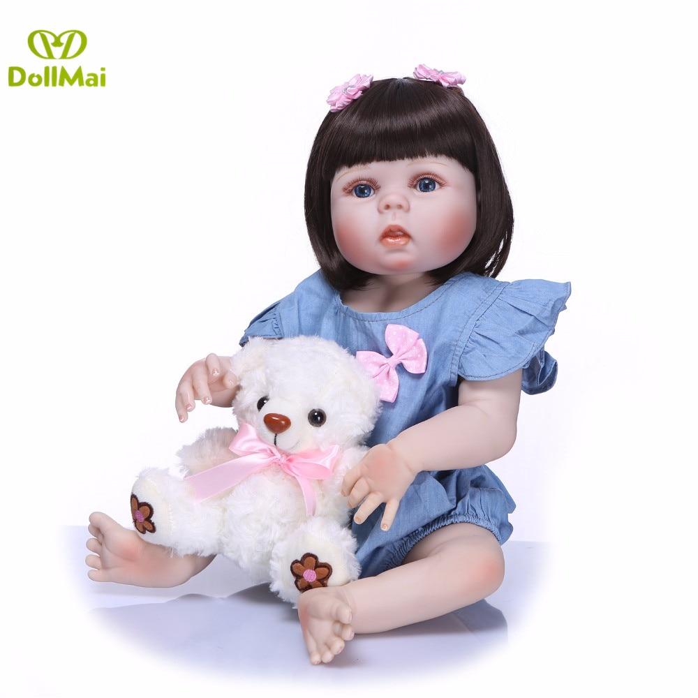 "Full silicone reborn baby dolls 22""55cm bebe real reborn menina with bear plush children birthday gift toy dolls reborn"
