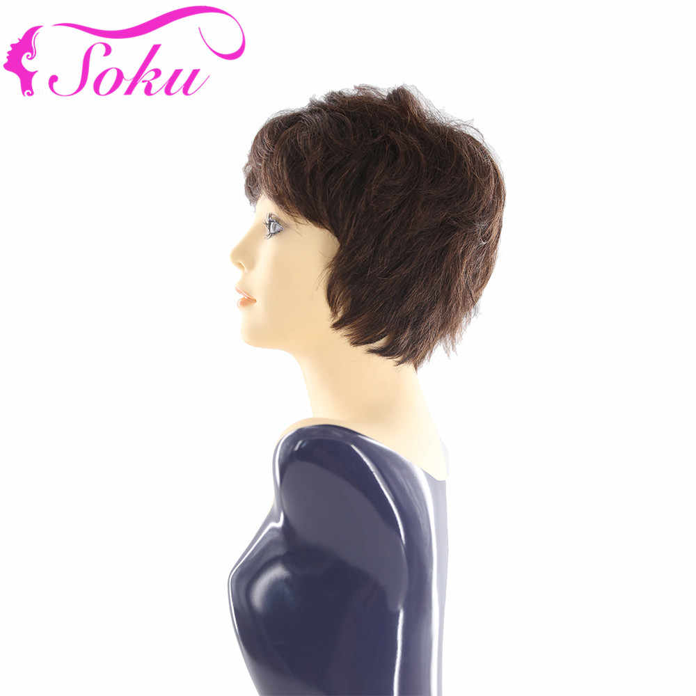 """SOKU короткий боб бразильские человеческие волосы парики натуральные волнистые короткие парики с челкой полные парики на голову 8 """"150% плотность не Реми коричневые волосы"""