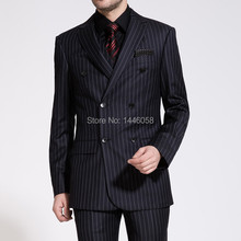 Groom Suits 2017 New Arrival Wedding Mens Stripe Suit Set Mens Suits With Pants Tuxedos Double-breasted Suits (Jacket+Pants+Vest