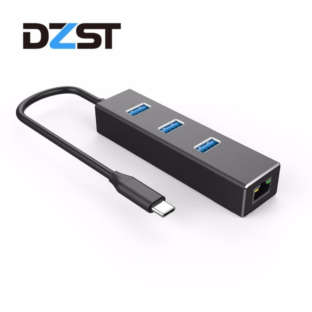 DZLST Network Card USB C RJ45 Adapter to Ethernet Lan Converter 100/1000Mbps for MacBook Samsung Galaxy S9/S8+ Huawei Matebook цена 2017