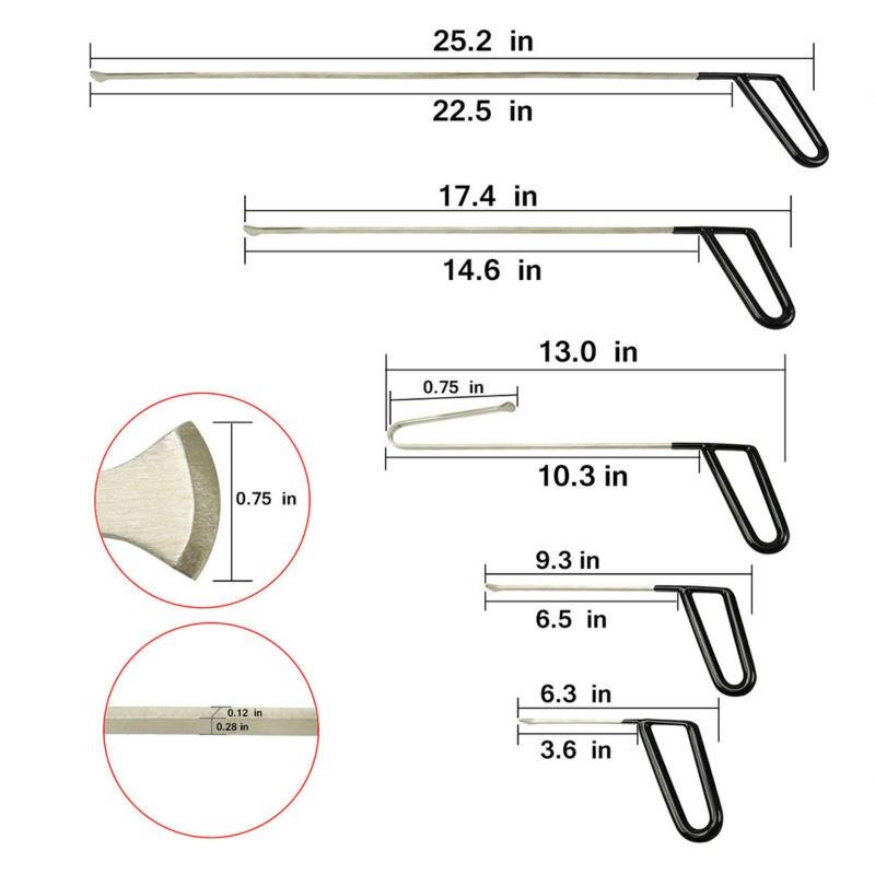 Tools : Hand Tools Flat Hooks Paintless Dent Repair Rod Hook Wedge Hail Removal Tool manganese steel tool kit  SET