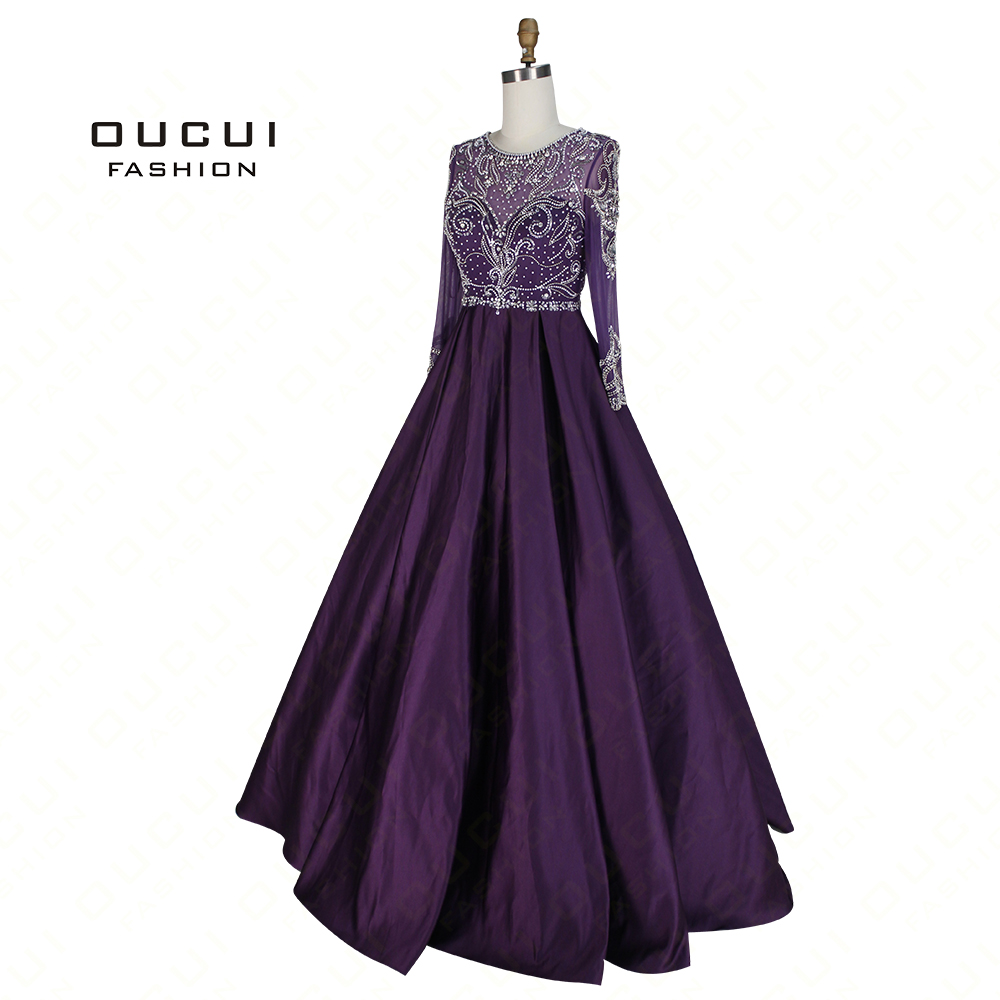 Real Photo Ball Gowns 2019 Handmade Crystal Beading Long Sleeves Elegant   Prom     Dresses   Muslim Evening Party Robe Femme OL103004