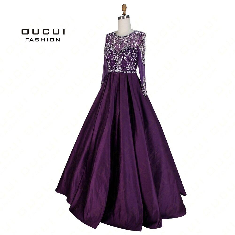 Real Photos Ball Gown Handmade Crystal Long Sleeves Long   Prom     Dress   Evening Beaded OL103004 robe de soiree