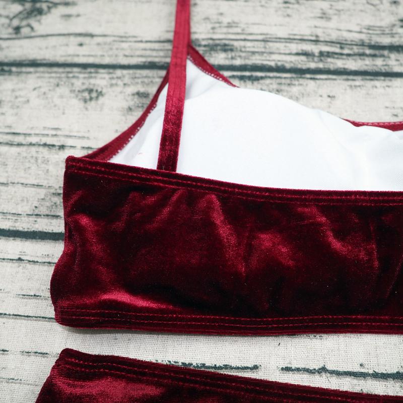 Sexy Brazilian Bikini 17 Blue Velvet Swimwear Women Swimsuit Push up Biquini Halter Bikinis Set Bathing Suit Maillot De Bain 15