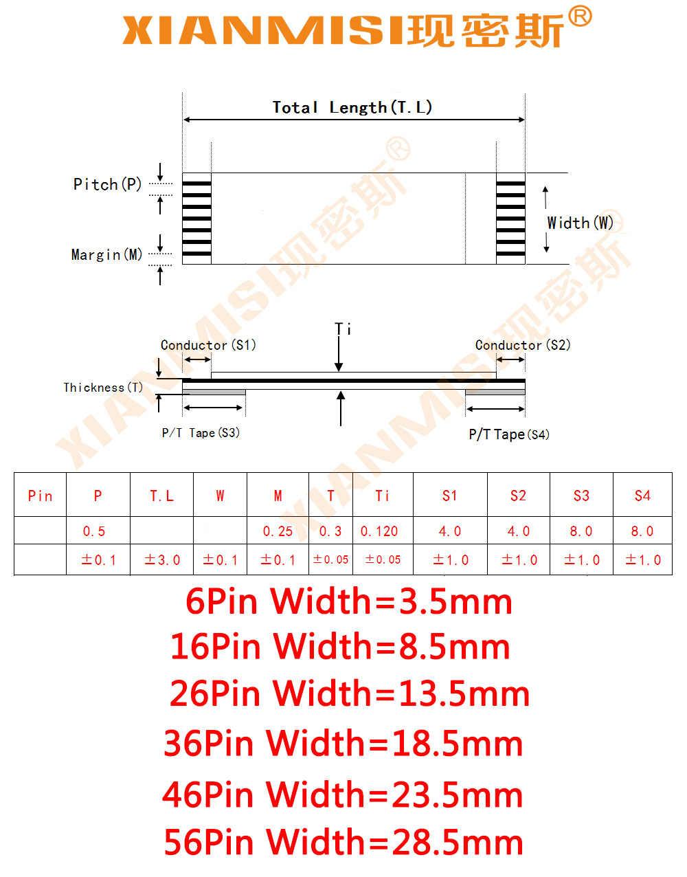 FFC FPC Platte Flex Verlengkabel 6Pin 16Pin 26Pin 36Pin 46Pin 56Pin Dezelfde Kant 0.5mm Pitch AWM VW-1 20624 60 V Lengte 25 cm 5 STKS